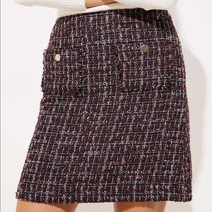 LOFT Plus Plaid Tweed Mini Skirt